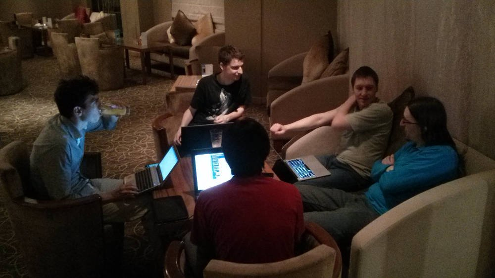 Core App developers hacking in the lobby after hours